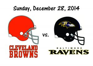 BROWNS vs RAVENS, Sunday, December 28th