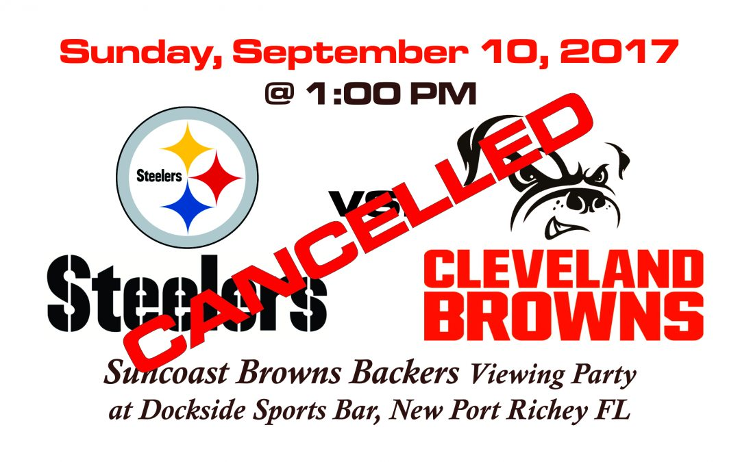 CANCELLED – Steelers vs Browns, Sunday, Sept. 10