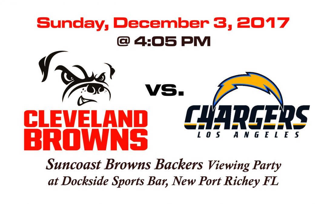 BROWNS VS CHARGERS, Sunday, Dec. 3rd @4:05PM