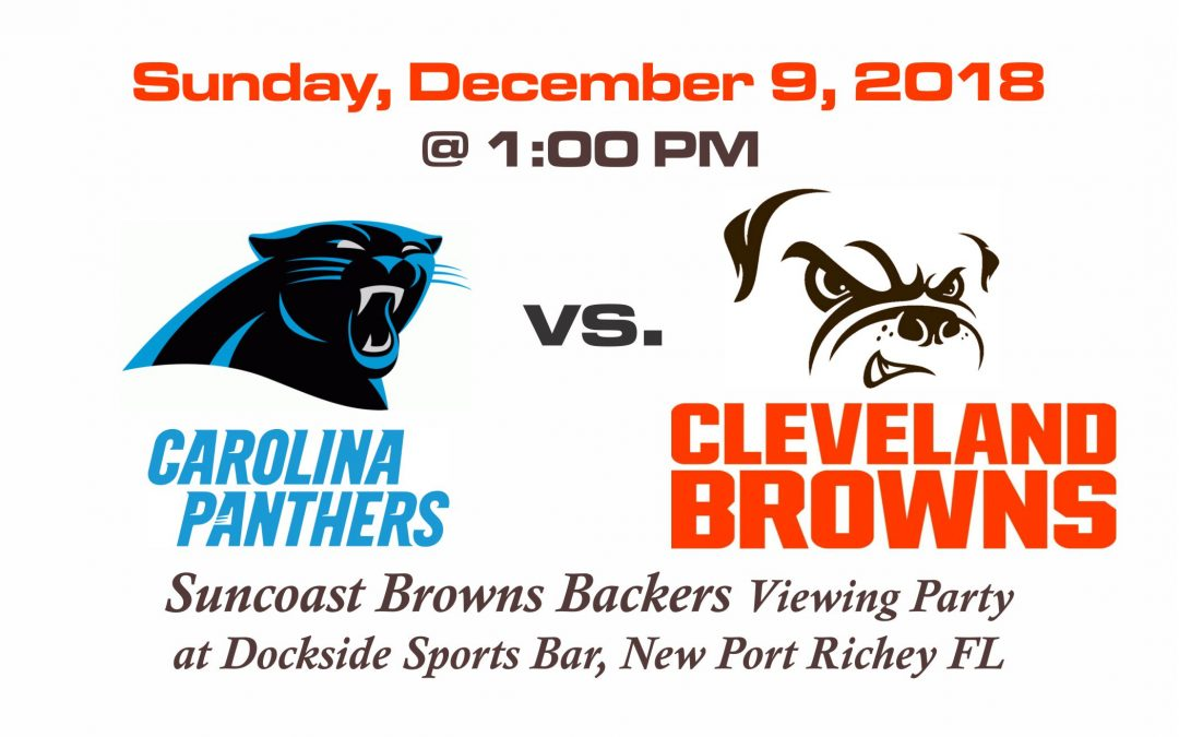 Panthers vs Browns, Sunday, Dec. 9th @1PM
