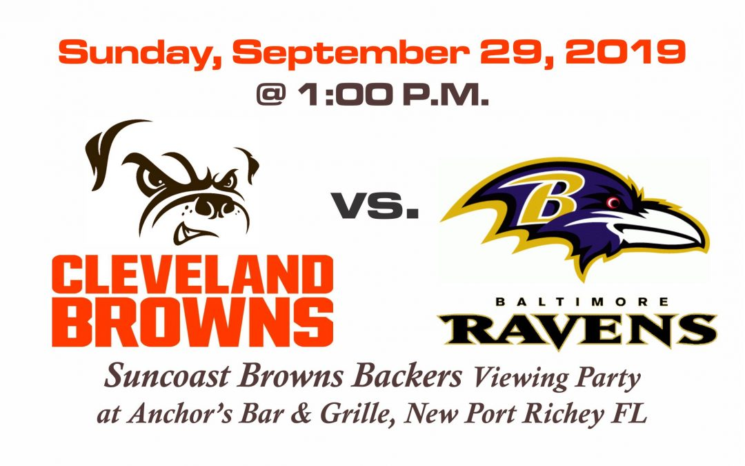 Browns vs Ravens, Sunday, Sept. 29th @1PM