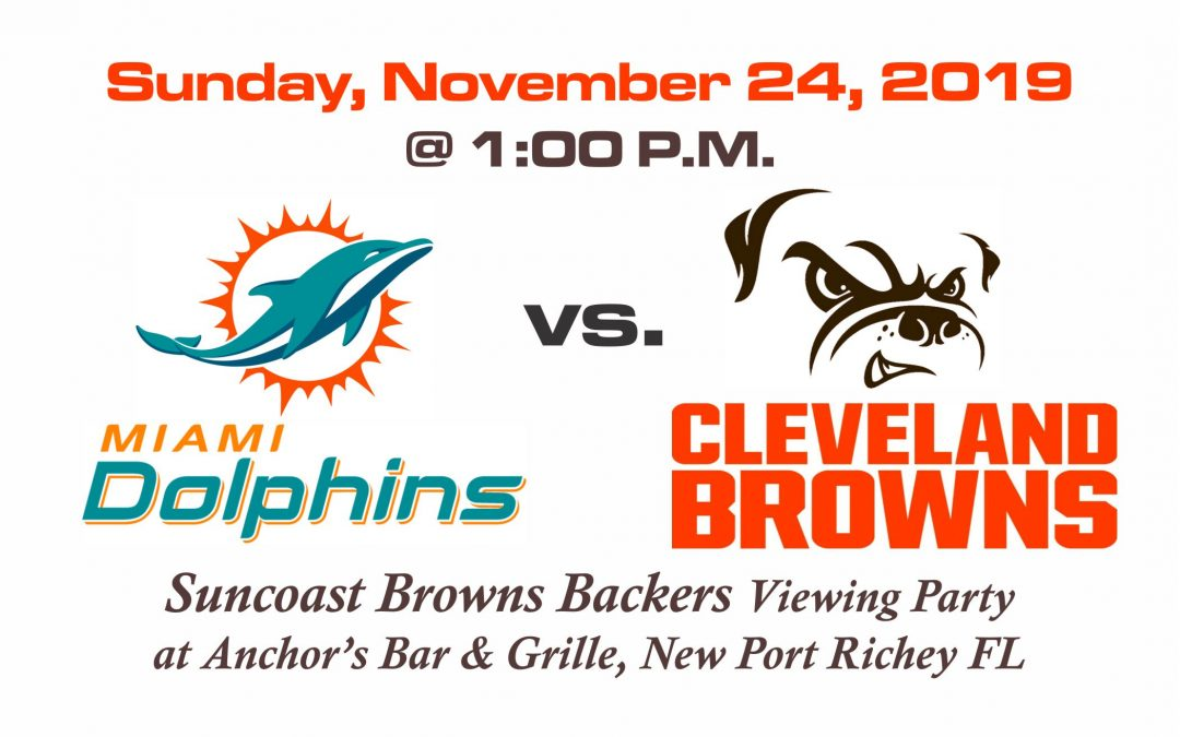 Dolphins vs Browns, Sunday, Nov. 24th @1PM