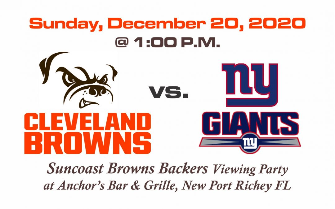 BROWNS vs GIANTS, Sunday, Dec. 20th @1PM