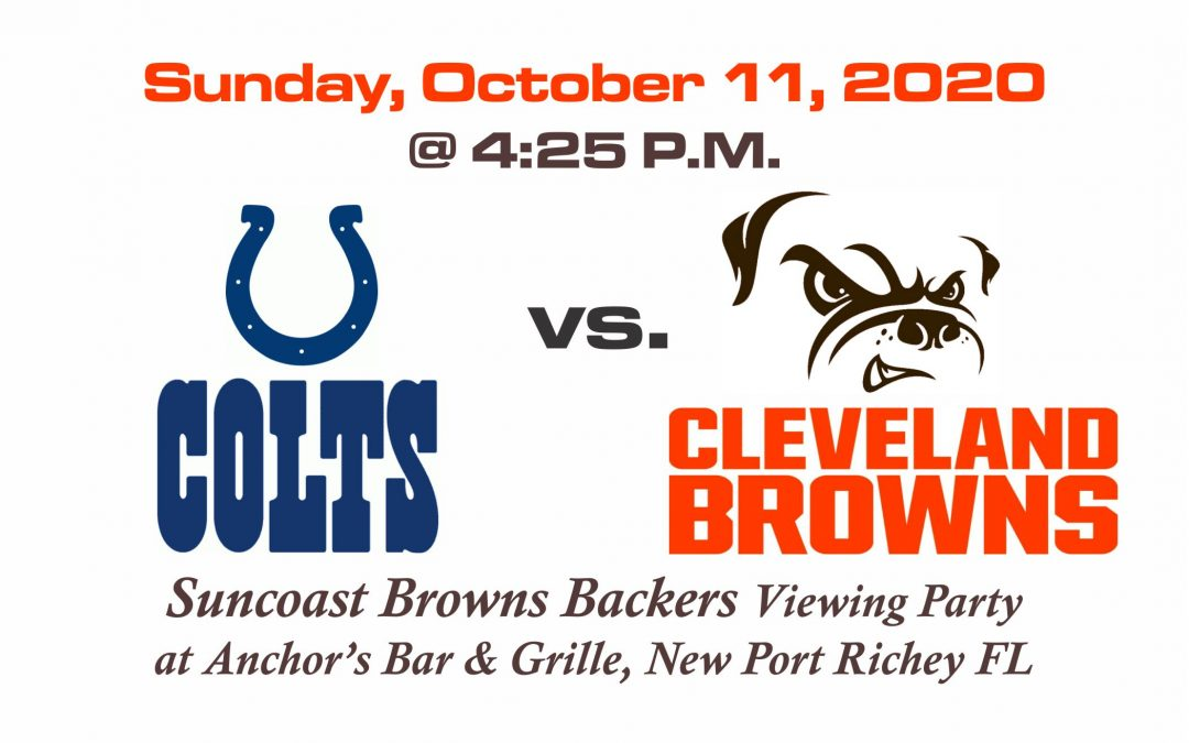Colts vs Browns, Sunday October 11th @4:25PM