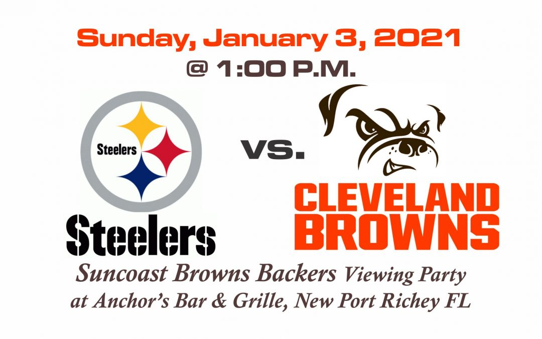 STEELERS vs BROWNS, Sunday, January 3rd @1PM