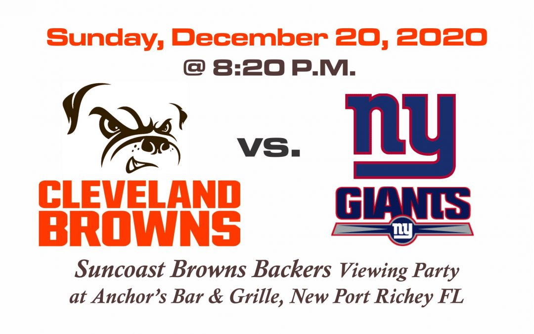 BROWNS vs GIANTS, Sunday, Dec. 20th @8:20PM