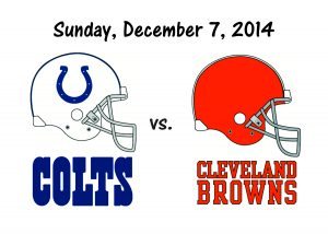 COLTS vs BROWNS, SUNDAY, DECEMBER 7th