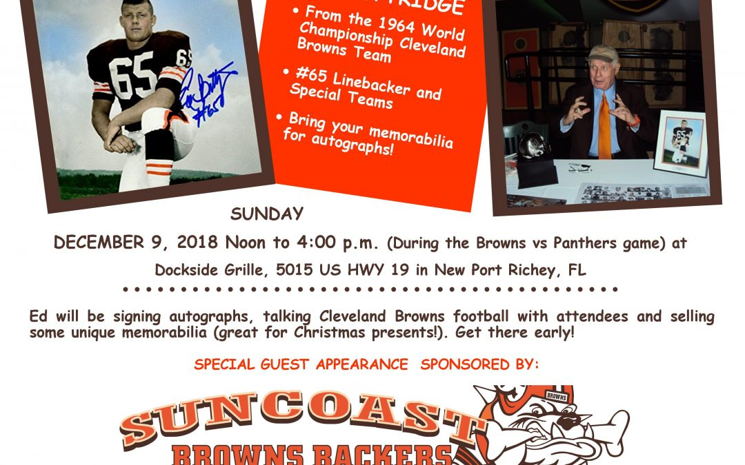 Special Guest Visit from Ed Bettridge, Sunday, Dec. 9th